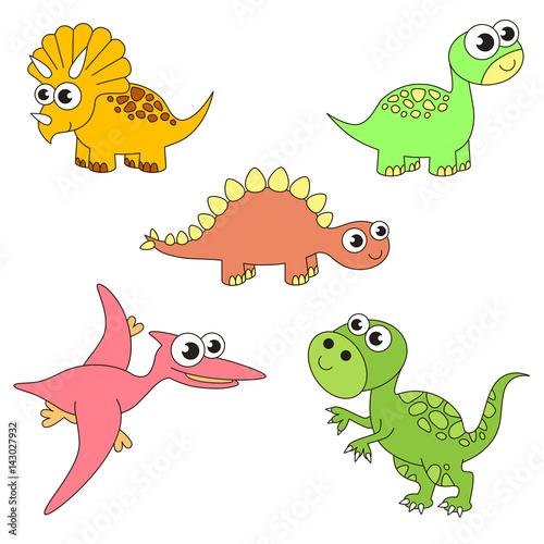 Photo Tremendous dinosaurus dino set, the collection of coloring book template, the group of outline digital elements