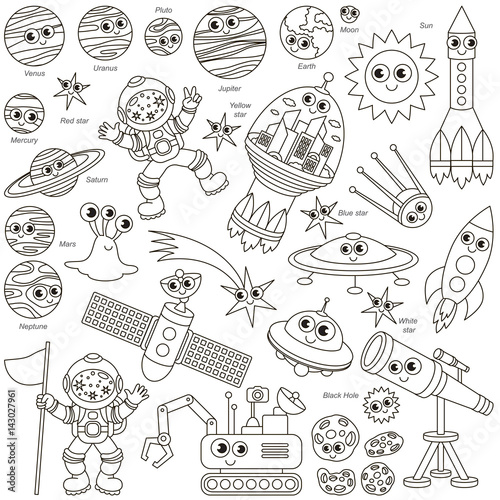 colorless-space-kid-set-the-collection-of-coloring-book-template-the-group-of-outline-digital-elements