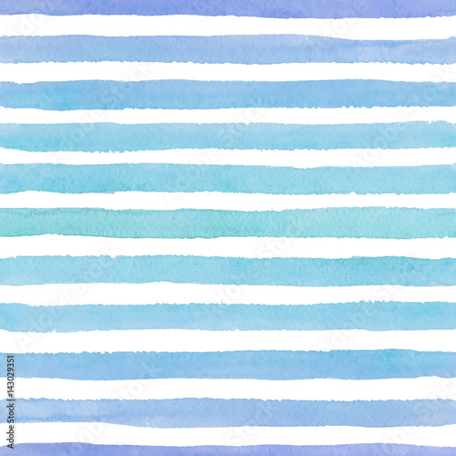 Cotton fabric Hand drawn seamless watercolor pattern with colorful blue strokes on the white background