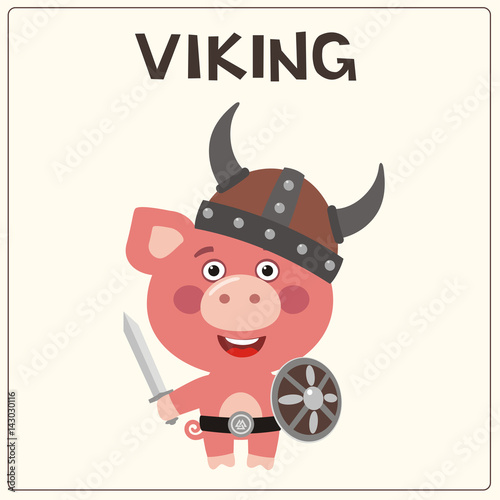 Funny Pig In Costume Of Viking With Sword And Shield Viking Pig In
