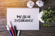 Medical Insurance word with Notepad and green plant on wooden background.