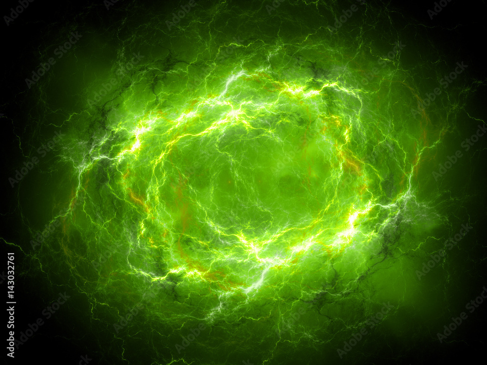 Fototapety, obrazy: Green glowing plasma lightning in space