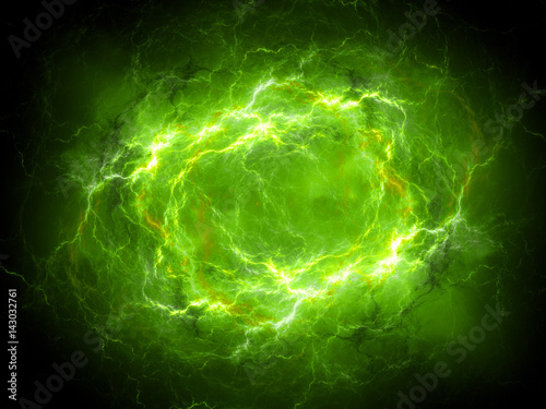 Leinwand Poster Green glowing plasma lightning in space