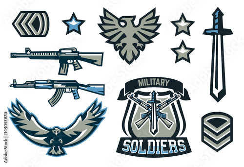 Set of military and military badges  Emblems, automatic weapons