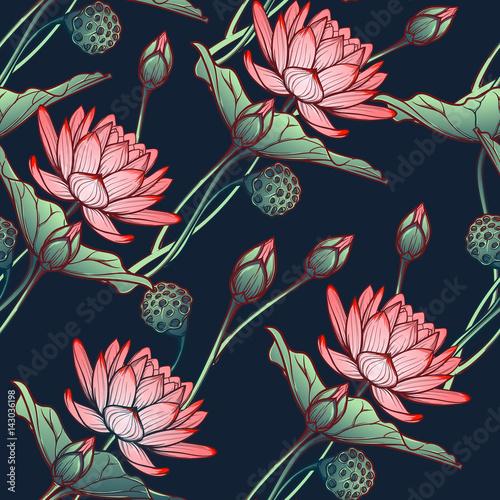 tlo-lotus-kwiecisty-bezszwowy-wzor-z-wodnymi-lelujami-odizolowywac-na-glebokim-blekitnym-tle-diagonalny-rytm-ilustracja-wektorowa-eps10