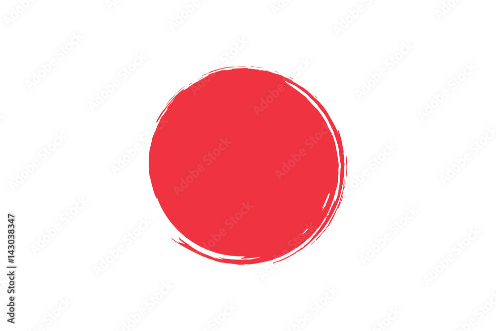 Fototapeta Flag of Japan with grunge effect. Japanese flag painted with ink. Red sun. Vector illustration
