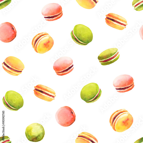 Tapeta ścienna na wymiar Sweet and colourful french macaroons seamless pattern. Watercolor illustration