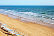 Portugal. Algarve. View from above on the sandy beach of Falesia