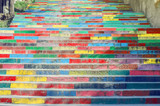 Fototapeta Fototapety na drzwi - Multicolored Stairs In Urban Environment