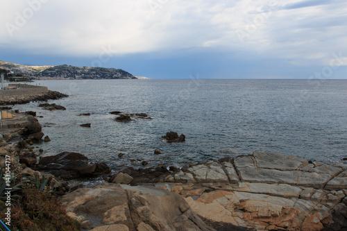 Spoed Foto op Canvas Noordzee spiaggia di Bordighera