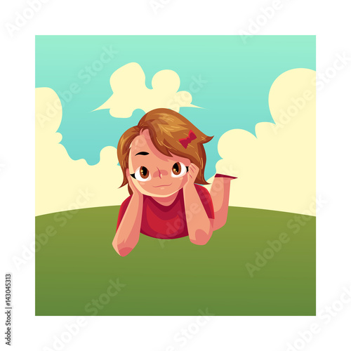 Teenage Girl With Short Brown Hair And Big Eyes Lying On Green Grass Under Summer Sky Colorful Cartoon Vector Illustration Girl Kid Child Lying On The Grass Summer Vacation Concept Buy