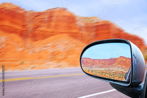 Looking Back In The Car S Rearview Mirror The Capitol Reef Rocky Mountains Near Escalante Utah On Route 12 In The United States Buy This Stock Photo And Explore Similar Images At