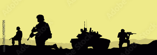 Foto  Soldiers and a tank on the fulfillment of the combat mission