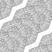 Vector Seamless Monochrome Pattern. Abstract Lace Isolated On White Background. Hand Drawn Decorative Element. For Coloring