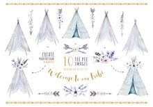 Hand Drawn Watercolor Tribal Teepee, Isolated White Campsite Tent. Boho America Traditional Native Ornament. Indianbohemian Decoration Tee-pee With Arrows And Feathers