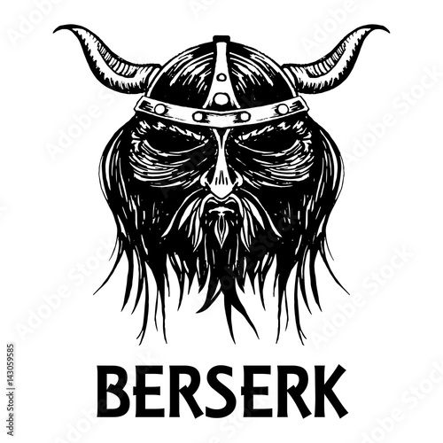 Berserk or berserker warrior head vector icon Canvas Print
