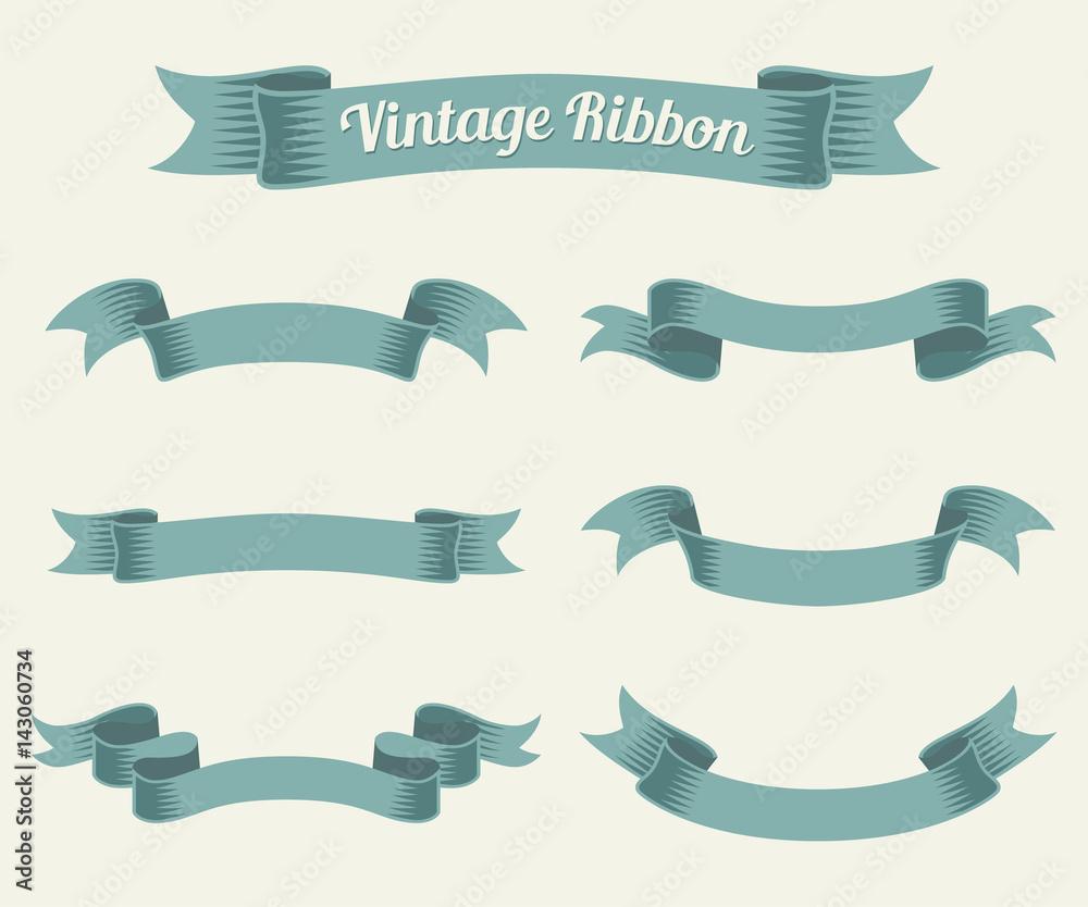 Fototapeta vintage ribbon set. Vector illustration.