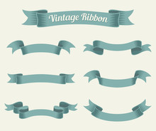 Vintage Ribbon Set. Vector Ill...