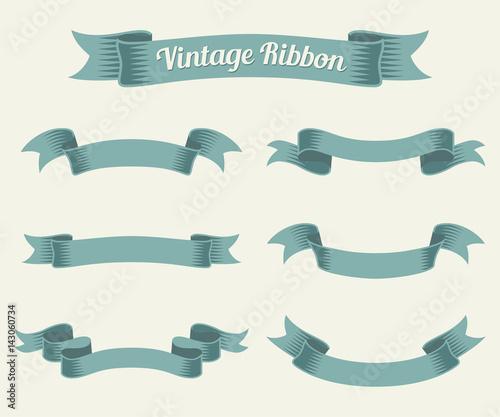 Photo  vintage ribbon set. Vector illustration.