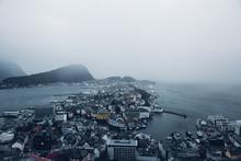 Coastal Urban Scene On Foggy D...