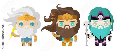 Photo  hades poseidon and zeus cute tiny gods