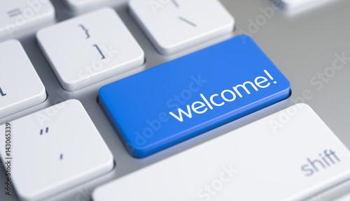 Fotografia  Business Concept with Blue Enter Key on Modern Laptop Keyboard: Welcome