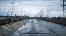 Los Angeles Industrial, Train Tracks, Bridge Water River