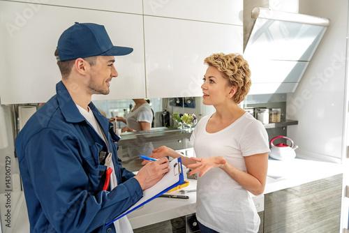 Man and woman having conversation