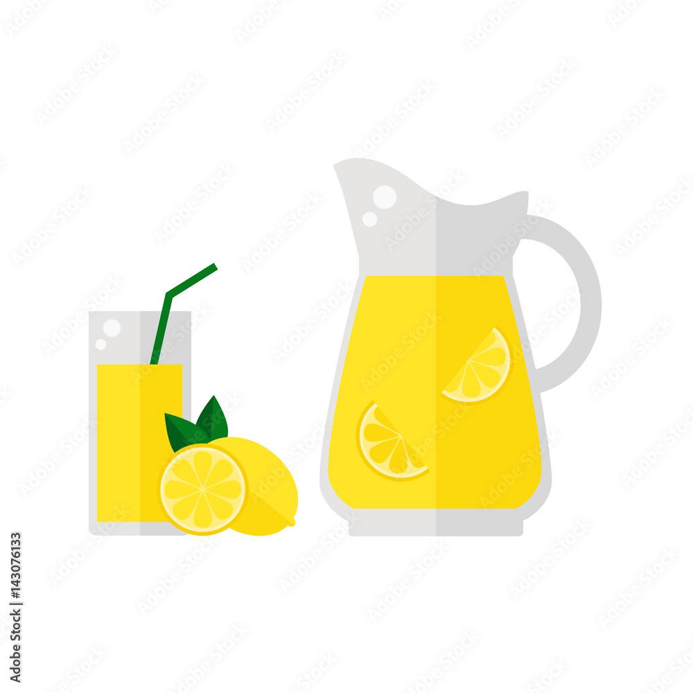 Fototapety, obrazy: Lemonade juice icon isolated on white background. Glass with straw, pitcher and lemon fruit. Refreshing drink. Flat vector illustration design.