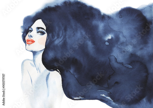 Hand drawn beauty brunette woman. Watercolor abstract portrait of sexy girl. Painting fashion illustration on white background