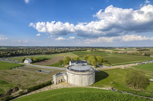 View Of The Complex Of Waterloo Memorial, Where Napoleon Lost His Most Famous Battle. With Panorama Building In Foreground And New Visitor Centre To The Left.