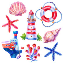 Watercolor Set Of Watercolor Lifebuoy, Lighthouse,shell,starfish,seaweed,ship Illustrations Isolated On White Background.Colorful Hand Drawn Vintage Illustration.Perfect For Kids Image Marine Style