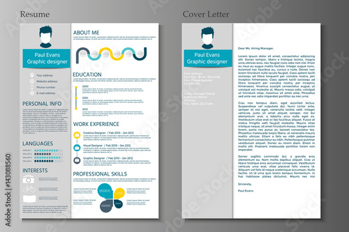Resume And Cover Letter Collection Modern CV Set With Infographics Elements