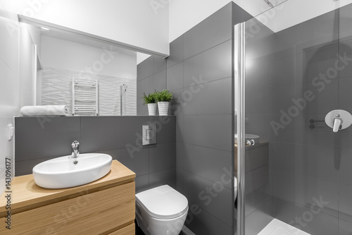 Valokuva  Modern grey bathroom with shower