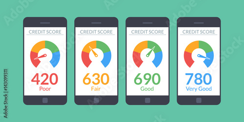 Fotografía  Collection smartphones with credit score app on the screen in flat style
