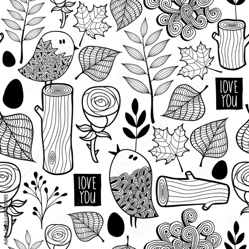 Cotton fabric Black and white forest illustration for coloring.