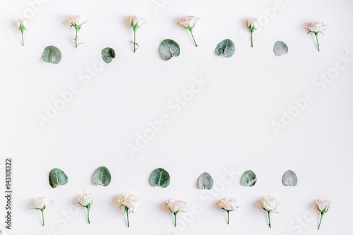 Foto op Canvas Bloemen floral concept with pastel flowers on white background top view mock-up