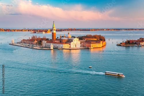 Poster Venise Aerial view at San Giorgio Maggiore island, Venice, Italy
