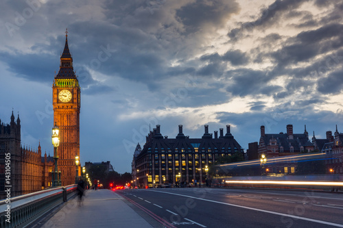 LONDON, ENGLAND - JUNE 16 2016: Night photo of Houses of Parliament with Big Ben Canvas Print