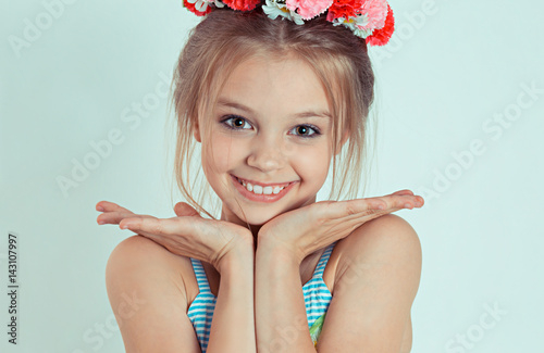 Sweet Smile Close Up Cute Happy Teen Girl Standing With Hands Fingers Near Touching -9284