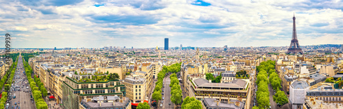 Poster de jardin Paris Paris, France. Panoramic view from Arc de Triomphe. Eiffel Tower and Avenue des Champs Elysees.