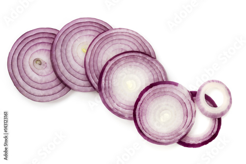 Fotografía  Red Onion Slices Isolated Top View