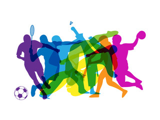 Fototapeta na wymiar RAINBOW OF SPORTS SILHOUETTES