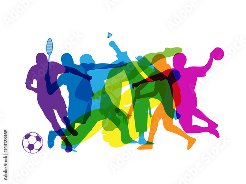 RAINBOW OF SPORTS SILHOUETTES Tablou Canvas