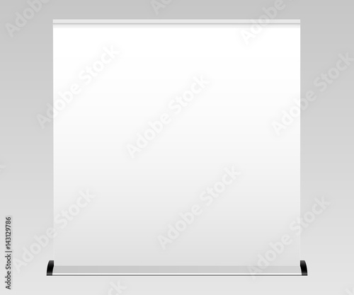 White wide blank roll-up banner mockup. Apply your design and showcase your projects and layouts for exhibition or presentation. Vector illustration