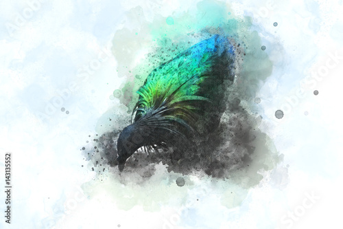 Платно Abstract bird on watercolor background, Watercolor painting, Bird