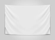 Hanging Empty White Flag. Blan...