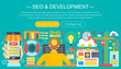 SEO and development concept design infographics template design, web header seo icons elements. Vector illustration.