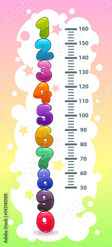 Staande foto Hoogte schaal Kids height chart with funny cartoon colorful numbers.