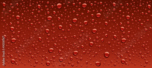 Canvas Print dark red water droplets background
